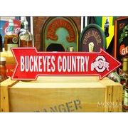 アメリカンブリキ看板 オクラホマ大学 Buckeye Country 道標