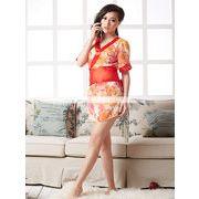 浴衣 着物ドレス オレンジ×ピンク花柄 和服コスプレ コスチューム 帯付き 半袖コスプレ 4003