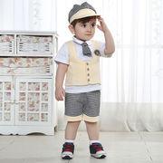 格安!80-90-100-110セット★ベビー★幼児★紳士★チェック柄★ネクタイ★帽子+チョッキ+シャツ+ズボン