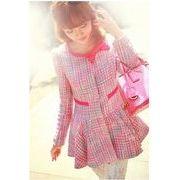 韓国バージョンカーディガン/丸ネックリボン飾り/ウェスト締め/フレアー裾チェック柄コート/ピンク