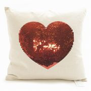 【代引不可】Peking Handicraft/24LFH3580AC16SQ/SEQUIN RED HEART /クッションカバー