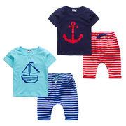 格安!!NEW★子供★幼児★アンカー★ボーダー柄★ショートパンツ★Tシャツ+半ズボン