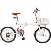 【代引不可】 プライマリー 20型折りたたみ自転車 (カギ・カゴ・ライト付) 本体