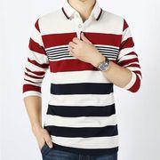 【メンズ】【大きいサイズ有】全1色★ボーダー柄長袖ポロシャツ :M01A0002