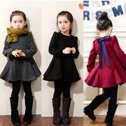 フラウンス裾 厚手 長袖ワンピース ラウンドネック ドレス トップス 女の子 ファッション 子供服 秋冬