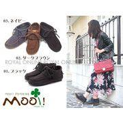 【Mooi! Feminine】 本革 ヌバック フリンジ モカシン シューズ 全3色 レディース