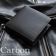 BEAMZSQUARE カーボンレザー×グレインレザー折財布BS-66314BK フルレザーブラック