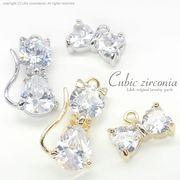 "★L&A Original★Cubic zirconia★ゴールド&シルバー★リボン&ねこちゃん♪133 ""Cubic cat"""