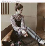 Rinaシリーズ★春夏★新しいデザイン★女性服★韓国風★メッシュ★スリング★フローラル★