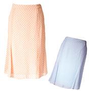 水玉シフォンスカート シャーベットカラー 膝が隠れる長さ 切り替えライン