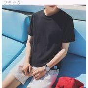 夏★シンプル★単一色★何でも似合う★男★コットン★ボトムシャツ★韓国風★十代の若者★丸襟