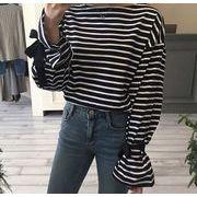 2017♪【海外買付】ボーダー柄 ゆったり 長袖 Tシャツ  全2色 june-two-1026