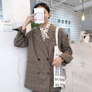 秋 女性服 韓国風 中長デザイン ルース ダブルブレスト 学生 スーツ T-ストラップ