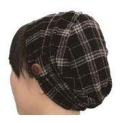 おしゃれヘアキャップ【女神の帽子】軽くてあったか・ふんわりウール100%チェック柄