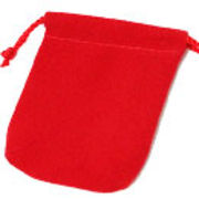 【ネーム・ロゴ入れ可能☆ベルベットポーチ・巾着】色々使える販促用品 12枚セット【赤】5サイズ