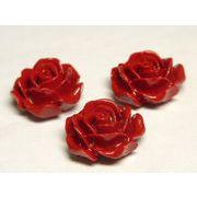 珊瑚(練り) 薔薇型パーツ レッド 約13×6mm 【5個セット販売】