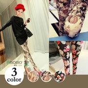 【即納】花柄レギンス/パンツ全3色◆v-b803b-9289【自社工場】