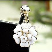 ラインストーンと白い花 ゴールド&ホワイト イヤフォンジャック スマートフォン アイフォン5