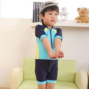 激安☆選べる!!可愛い子供水着◆泳ぎ服◆キッズ男の子◆帽子付き◆水泳◆カラーブロック5着/セット