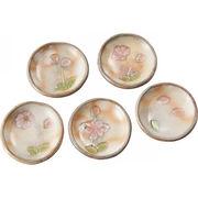 【代引不可】 清水焼 粉引桜 ミニ豆皿5枚揃 プレート