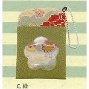 【ご紹介します!手触りの良いちりめん生地の花柄が可愛い!(CK)ロマン柄パスケース(4色)】C緑