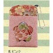 【ご紹介します!手触りの良いちりめん生地の花柄が可愛い!(CK)ロマン柄パスケース(4色)】Bピンク