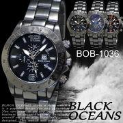 【選べるケース有or無】 腕時計 デザインクロノグラフ ブラック メタルバンド ウォッチ◇BOB-1036