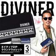 サーフテイストなデザイン★【DIVINER】ネイティブラインラウンドジップウォレット/メンズ 小物 長財布