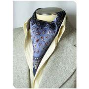 エレガント袋縫いメンズ用100%シルクスカーフ 1007