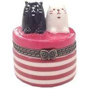 ツイン 猫雑貨 陶器製 小物入れ 小 しましま GE0725 E