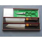 三木刃物 ステンレス割込み包丁 2本+キッチンハサミ ギフトセット GS100