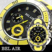【Bel Air collection】 バイカラー ラバーベルト メンズ 腕時計 JY1 イエロー【ビッグフェイス】