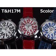 T&Hメンズ腕時計 PUレザーベルト 日本製ムーブメント
