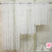 カフェカーテン<薔薇 ローズ チュールレース 刺繍 白 ホワイト>