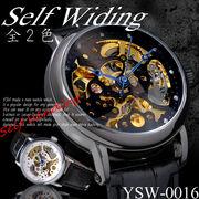 【ケース・保証書付】◆腕時計 自動巻 スケルトン ジルコニア 革バンド ウォッチ メンズ◇YSW-0016