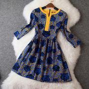 韓流冬物新作/タイガーズプリント☆襟配色パイピング☆長袖フレアファッションワンピース♪