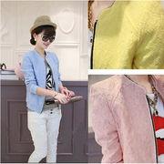 秋新作!韓国Styleのレデイースジャケット/スタントカラー/ジャガード長袖/ファスナー入り/弾力性
