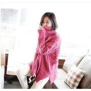 ♪韓国スタイル/プルオーバー式♪3カラーが選べるレディーストールネックセーター/?スリット入りツイス