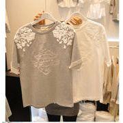 韓国スタイル/コットン生地のTシャツ/レディース