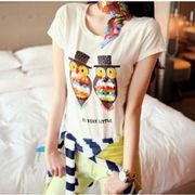 夏商品/フクロウ飾りの半袖Tシャツ♪