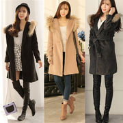 韓国版/ファー付き襟/スリムなデザイン/フリーサイズロングコート