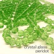 クリスタルガラス ビーズ ボタンカット ペリドット 連売り 《SION パワーストーン 天然石》