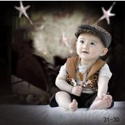 格安☆撮影写真★0-1歳★幼児★チェック柄★ニット★帽子+Tシャツ+チョッキ+半ズボン★セット