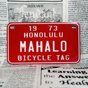 好きな文字にできるアメリカナンバープレート(中・USバイク用サイズ)ハワイ・自転車タグ-赤