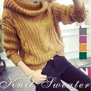 タートルネック ニット セーター ローゲージ編み ゆったり ケーブル編み 長袖 カジュアル