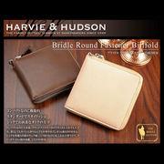 Harvie and Hudson ラウンドファスナー 二つ折り財布 ベージュ HA-1004-BE