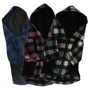 チェック柄ジップアップ フード付きジャケット[ブルー×ブラック]【犬服】