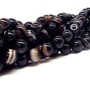 天然石 ビーズ 黒縞瑪瑙 ブラックアゲート 連売り 《SION パワーストーン 天然石》