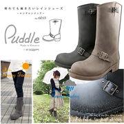 【Puddle】パドル☆エンジニアブーツタイプ レイン♪【ブラッシュド加工】EU-6013+en bridgeインソール