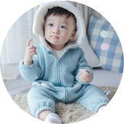 子供 ベビー ロンパース キャップ付き 尻尾付き 男の子 ふわふわ つなぎ服 厚手 2色